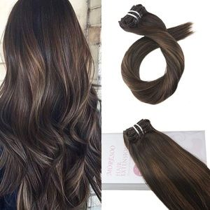 Peyton BROWN BALAYAGE HUMAN CLIPIN HAIR EXTENSIONBoutique for sale